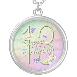 13th Birthday Rainbows and Butterflies Necklace