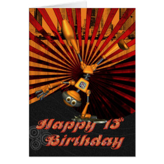 13th Birthday, Skateboard Robot Birthday Card
