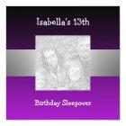 13th Birthday Sleepover Silver Purple Photo 2 Card