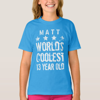 13th Birthday World's Coolest 13 Year Old Teal Z13 Tee Shirt