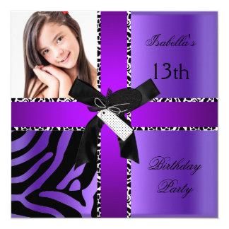 13th Birthday Zebra Cow Purple Black White 13 Cm X 13 Cm Square Invitation Card