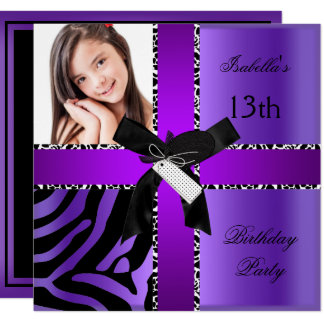 13th Birthday Zebra Cow Purple Black White Card