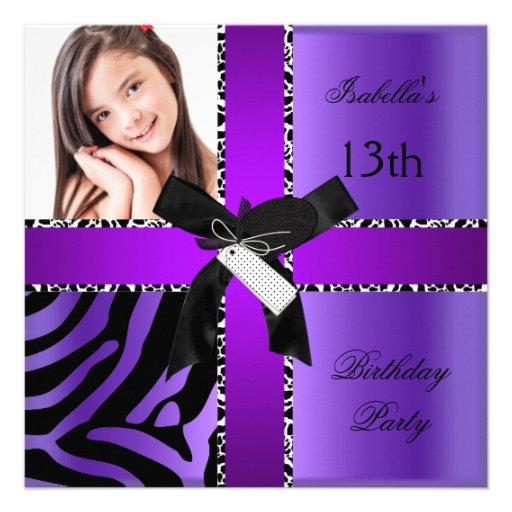 13th Birthday Zebra Cow Purple Black White Personalized Announcement