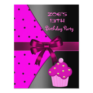 13th Pink Cupcake Spot  Birthday Party Card