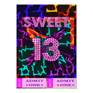 13th Sweet 13 Birthday Party Mixed Animal Print 13 Cm X 18 Cm Invitation Card