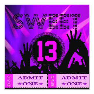 13th Sweet 13 Birthday Party Tickets Fun 13 Cm X 13 Cm Square Invitation Card