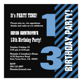 13th Teen Birthday Modern Blue Stripes A03 13 Cm X 13 Cm Square Invitation Card