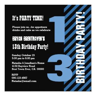 13th Teen Birthday Modern Blue Stripes A03 13 Cm X 13 Cm Square Invitation Card