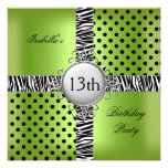 13th Teen Birthday Party Lime Green Black Zebra Invitations