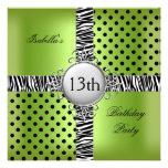 13th Teen Birthday Party Lime Green Black Zebra Invitations