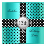 13th Teen Birthday Party Teal Blue Black Polka Dot Invite