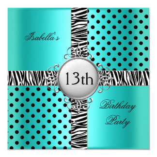 13th Teen Birthday Party Teal Blue Black Zebra 13 Cm X 13 Cm Square Invitation Card