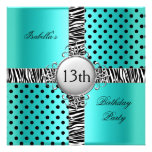 13th Teen Birthday Party Teal Blue Black Zebra Invites