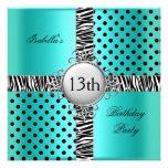 13th Teen Birthday Party Teal Blue Black Zebra Invites