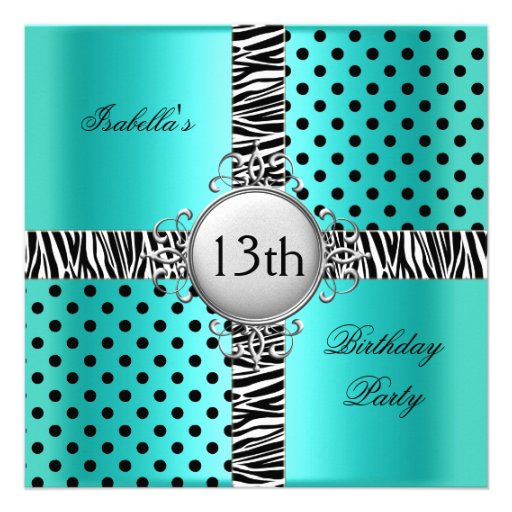 13th Teen Birthday Party Teal Blue Black Zebra Invitation