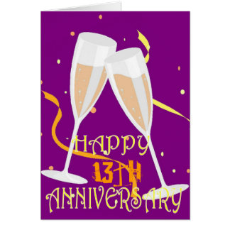 13th wedding anniversary champagne greeting card