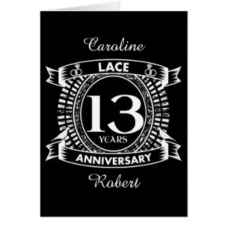 13TH wedding anniversary lace Card