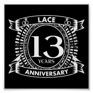 13TH wedding anniversary lace Poster