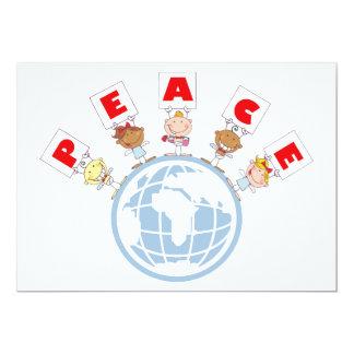 "1407 Cartoon Different-Nationalities Stick kids Gr 5"" X 7"" Invitation Card"