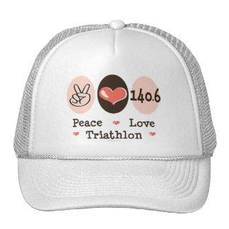 140.6 Peace Love Triathlon Cap Trucker Hats
