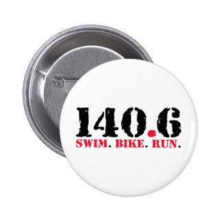 140.6 Swim Bike Run 6 Cm Round Badge