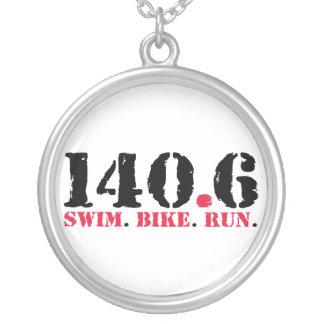 140.6 Swim Bike Run Silver Plated Necklace