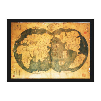 1418 Chinese World Map by Gavin Menzies Stretched Canvas Prints