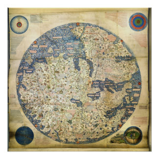 1450 World Map by Venetian Monk Fra Mauro Poster