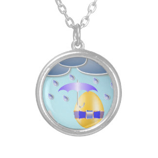 146Easter Egg_rasterized Silver Plated Necklace