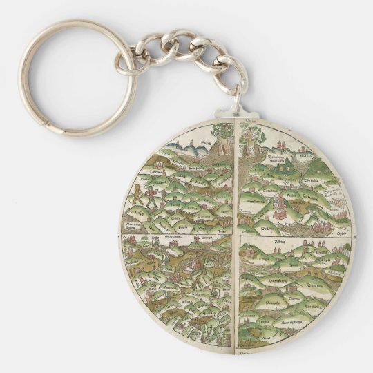 1475 Oldest Known Woodcut World Map Basic Round Button Key Ring