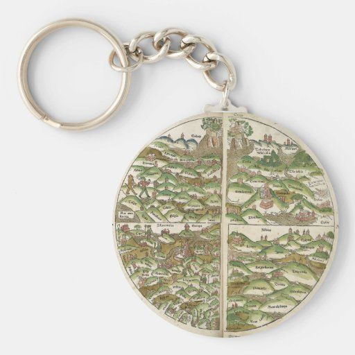 1475 Oldest Known Woodcut World Map Keychains