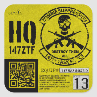147th Zombie Task Force Headquarters Unit ID Square Sticker