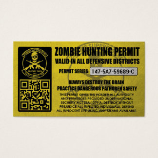 147th Zombie Task Force Hunting Permits Business Card