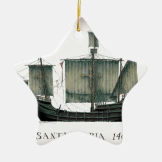 1492 Santa Maria by Tony Fernandes Ceramic Ornament