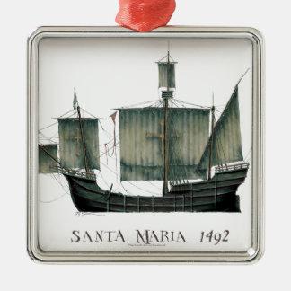 1492 Santa Maria by Tony Fernandes Metal Ornament