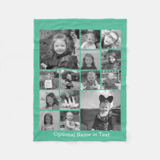 14 Photo Collage - CAN EDIT COLOR optional text Fleece Blanket