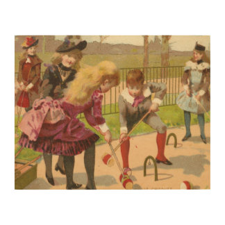 "14""x11"" Vintage Children Playing Wood Wall Art"