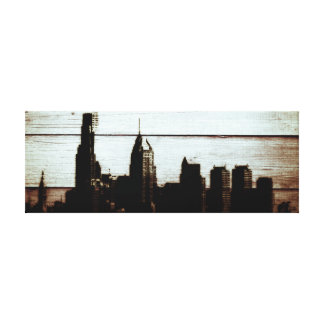 14'' x 11'', 1.5 philly skyline burnt wood print