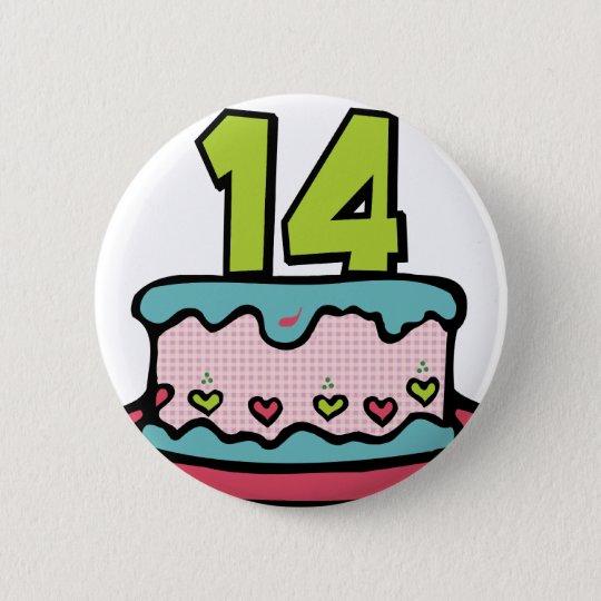 14 Year Old Birthday Cake 6 Cm Round Badge