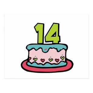 14 Year Old Birthday Cake Postcard