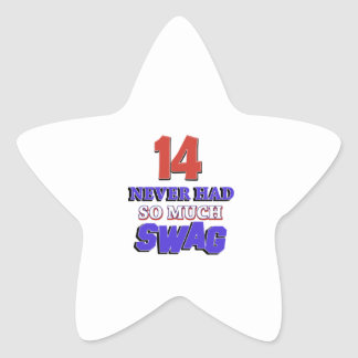 14 Year Old Birthday Gift Star Sticker
