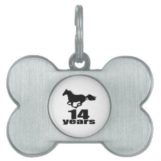 14 Years Birthday Designs Pet Name Tag