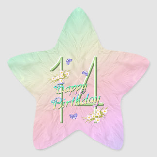 14th Birthday Butterflies and Rainbows Star Sticke Star Sticker