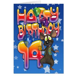 14th Birthday Card, Happy Birthday Card