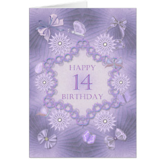 14th birthday card with lavender flowers
