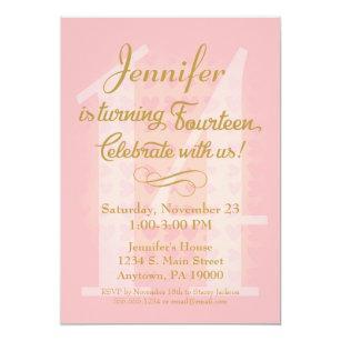 14th Birthday Invitation Girls Pink Gold Hearts