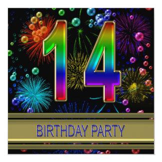 """14th Birthday party Invitation with bubbles 5.25"""" Square Invitation Card"""