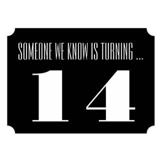 14th Birthday party Invite, black and white. 13 Cm X 18 Cm Invitation Card
