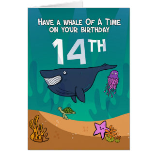 14th Birthday, Whales Starfish and turtle, Card