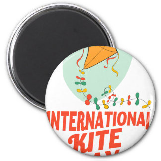 14th January - International Kite Day 6 Cm Round Magnet